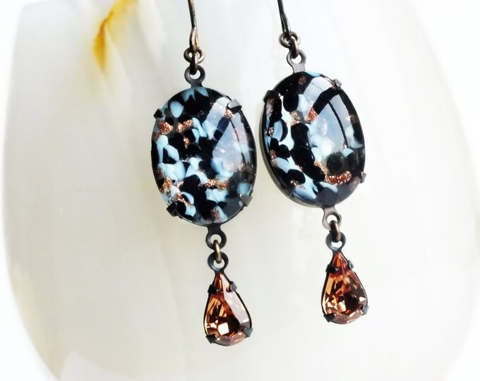 Lampwork Earrings Goldstone Black Earrings Black Glass Earrings Smoked Topaz Jewelry Lampwork Jewelry Goldstone Dangles Vintage Cabochons