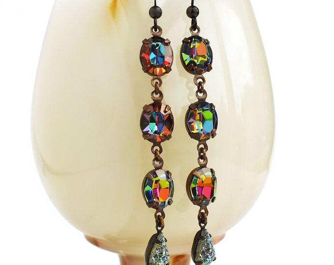 Iridescent Crystal Earrings Vintage Rainbow Glass Vitrail Rhinestone Jewels Lux Statement Jewelry Statement Crystal Earrings
