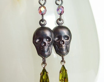 Black Skull Dangle Earrings Vintage Rhinestone Earrings Oxidized Brass Skull Jewelry Creepy Goth