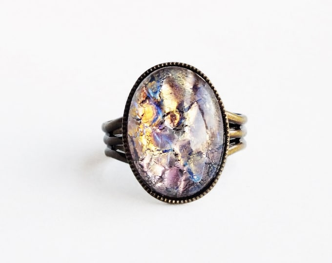 Glass Fire Opal Ring Amethyst Glass Ring Purple Gold Foil Ring Rare Vintage Iridescent Glass Lampwork Adjustable Opal Jewelry