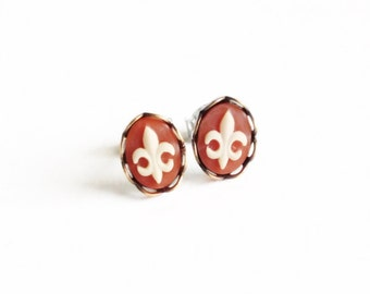 Fleur-de-Lis Stud Earrings Tiny Cameo Post Earrings Tiny Cameo Studs Fleur-De-Lis Hypoallergenic Earrings France Fleur-De-Lis Jewelry