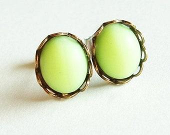 Neon Lime Green Studs Vintage Matte Neon Green Post Earrings Hypoallergenic Studs Neon Jewelry