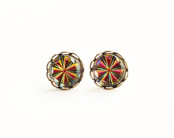 Tiny Rainbow Crystal Studs Small Vintage Iridescent Glass Vitrail Post Earrings Hypoallergenic Jewelry