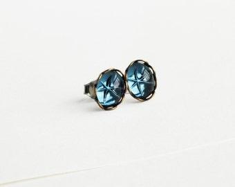 Tiny Dark Blue Crystal Studs Earrings Vintage Indigo Studs Navy Swarovski Crystal Earring Studs Hypoallergenic Studs Montana Blue