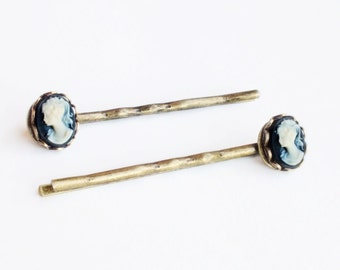 Cameo Hair Pins Vintage Black Cameo Bobby Pins Victorian Small Cameo Hair Pins Victorian Hair Accessories Vintage Style