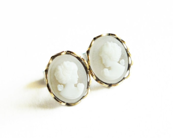 Small Cameo Post Earrings White Victorian Vintage Portrait Cameo Studs Hypoallergenic White Cameo Jewelry Victorian Bridal
