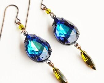 Iridescent Crystal Earrings Large Vintage Purple Blue Aqua Vitrail Rhinestones Iridescent Jewelry
