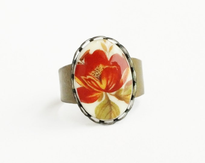 Floral Cameo Ring Rust Red Flower Ring Poppy Floral Cameo Victorian Poppy Jewelry Vintage Style