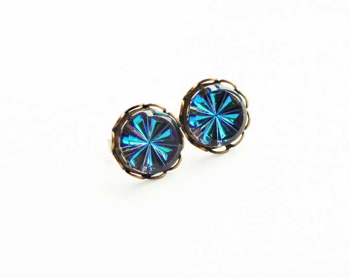 Blue Crystal Studs Vintage Iridescent Blue Green Vitrail Post Earrings Hypoallergenic Iridescent Blue Studs