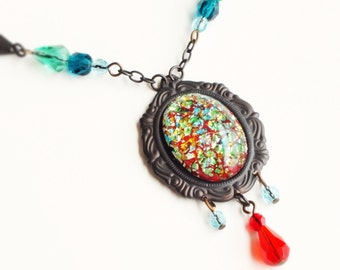 Red Glass Opal Necklace Vintage Metallic Foiled Glass Pendant Red Teal Blue Art Deco Jewelry