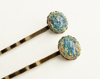 Blue Glass Opal Hair Pins Vintage Iridescent Blue Glass Bobby Pins Pastel Bobby Pins Blue Hair Jewelry Blue Glass Opal Accessories