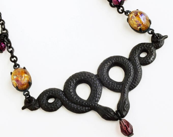 Snake Necklace Black Brass Serpent Art Nouveau Double Snake Pendant Black Snake Jewelry Halloween Necklace