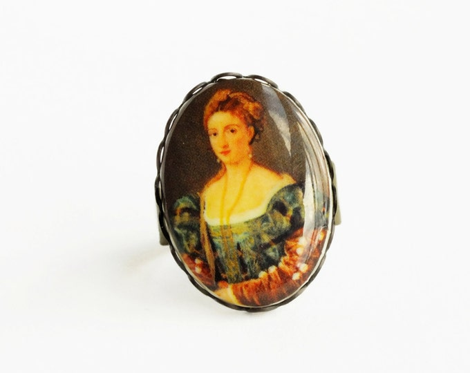 Art History Cameo Ring Vintage Oil Painting Portrait Cabochon Renaissance Fine Art History Jewelry