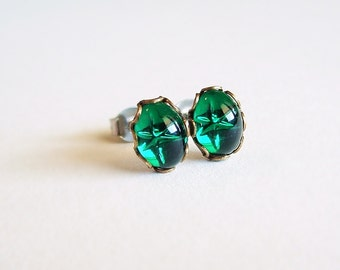Tiny Green Post Earrings Vintage Emerald Green Swarovski Crystal Stud Earrings Hypoallergenic Jewelry