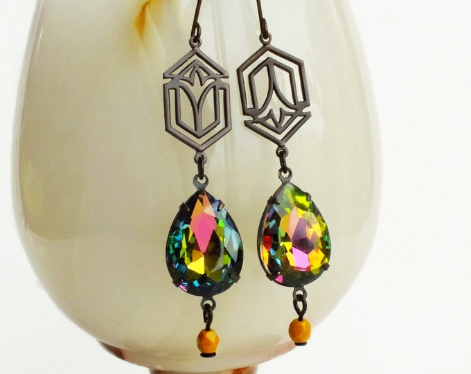 Rainbow Crystal Earrings Art Deco Iridescent Jewel Dangle Earrings Vitrail Rhinestone Jewels Earrings Rainbow Crystal Jewelry Flapper