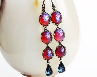 Glass Dragons Breath Earrings Glass Mexican Opal Earrings Vintage Glass Fire Opal Earrings Iridescent Dark Red