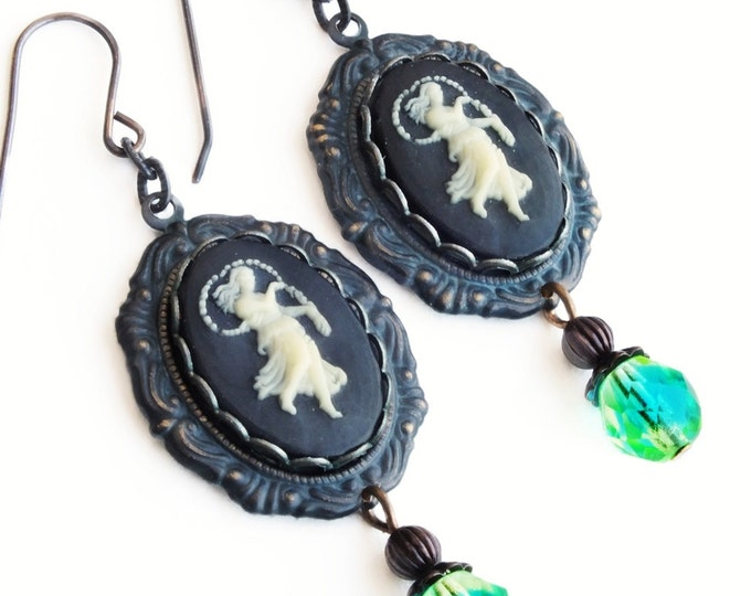 Virgo Earrings Vintage Cameo Victorian Zodiac Astrology Astrological Virgo Jewelry Gift For Her
