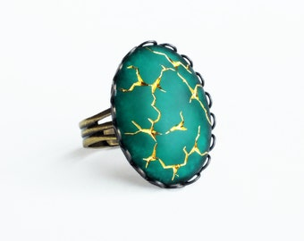 Frosted Emerald Ring Vintage Matte Green Glass Cabochon Gold Crackle Large Emerald Statement Ring