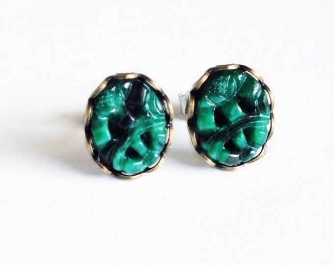 Dark Green Post Earrings Carved Glass Jade Studs Emerald Green Earrings Hypoallergenic Studs Carved Jade Green Cabochon Studs
