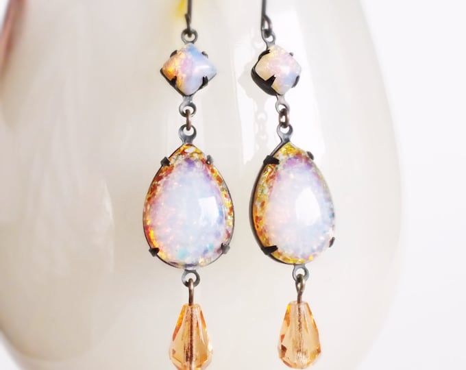 Pink Glass Opal Earrings Vintage Glass Harlequin Fire Opal Dangles Peach Rhinestone Earrings Victorian Wedding Jewelry