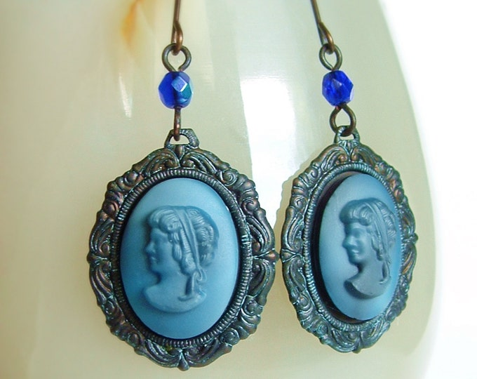 Dark Blue Glass Cameo Earrings Victorian Dangles Vintage Portrait Cameo Indigo Earrings Frosted Cobalt Glass Antique Victorian Jewelry