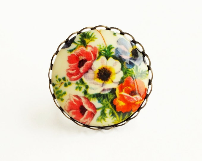 Statement Floral Ring Large Vintage Poppy Flower Cameo Ring Chunky Adjustable Brass Flower Ring Poppy Jewelry