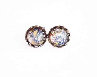 Tiny Glass Amethyst Stud Earrings Vintage Glass Fire Opal Studs Iridescent Purple Tiny Post Earrings Hypoallergenic Amethyst Glass Jewelry
