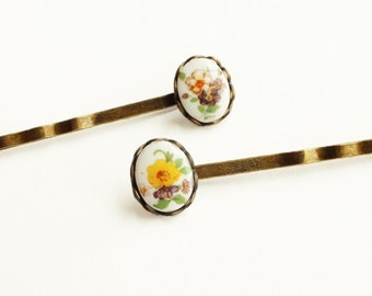 Victorian Floral Cameo Hair Pins Vintage Flower Bobby Pins Cameo Victorian Accessories Botanical