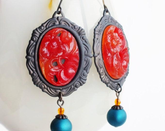 Carnelian Earrings Large Vintage Carved Floral Glass Earrings Dark Red Orange Statement Earrings Carnelian Jewelry