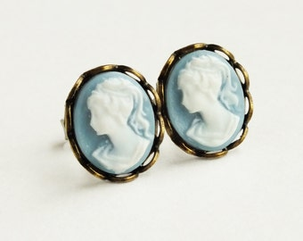 Blue Cameo Studs Tiny Cameo Post Earrings Vintage Style Victorian Lady Portrait Hypoallergenic Studs Light Blue Vintage Style Bridal Jewelry