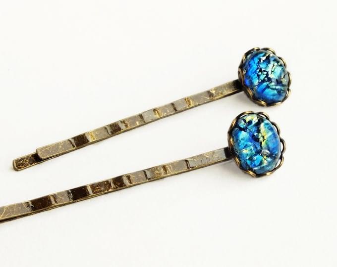 Blue Opal Hair Pins Vintage Iridescent Glass Hair Pins Royal Blue Bobby Pins