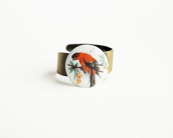 Bird Ring Vintage Glass Parrot Bird Cameo Ring Antique Brass Small Adjustable Ring Victorian Jewelry Vintage Style Red Bird Jewellery
