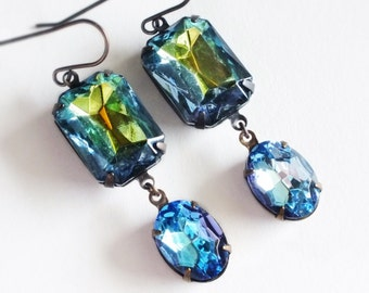 Green Rhinestone Earrings Iridescent Earrings Blue Green Jewels Vintage Rhinestones Peacock Glass Iridescent Green