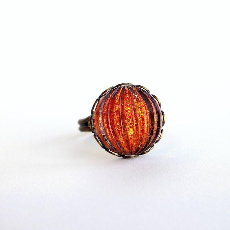 Orange Glass Ring Vintage Domed Glass Glitter Nail Polish Jewelry Tangerine Orange Adjustable Ring