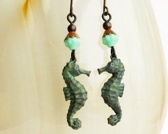 Seahorse Earrings Verdigris Jewelry Sea Horse Dangle Earrings Green Patina Jewelry Seahorse Turquoise Bead Dangles
