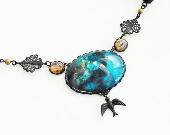 Cosmic Bird Necklace Galaxy Necklace Necklace Black Brass Necklace Pendant Necklace Cosmic Space Jewelry