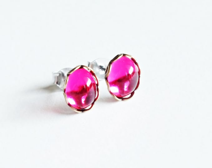 Tiny Hot Pink Studs Vintage Bright Pink Glass Post Earrings Eco-Friendly Hypoallergenic Bright Hot Pink Jewelry