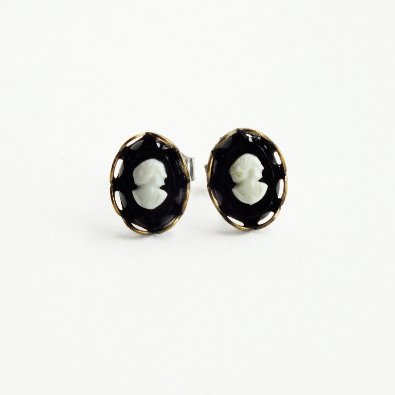 Tiny Black Victorian Cameo Studs Tiny Vintage Cameo Post Earrings
