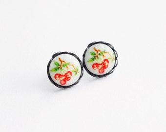 Red Cherry Studs Berry Post Earrings Vintage Cameo Berry Jewelry Small Cherry Stud Earrings Cute Fruit Cherry Jewelry