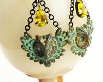 Large Owl Earrings Verdigris Earrings Owl Jewelry Verdigris Dangles Victorian Earrings Green Yellow Victorian Statement Jewelry