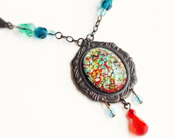 Red Opal Necklace Vintage Metallic Foiled Glass Pendant Red Teal Blue Art Deco Jewelry