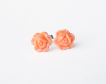 Peach Rose Studs Small Vintage Carved Flower Post Earrings Rosebud Hypoallergenic Jewelry Romantic Gifts For Her