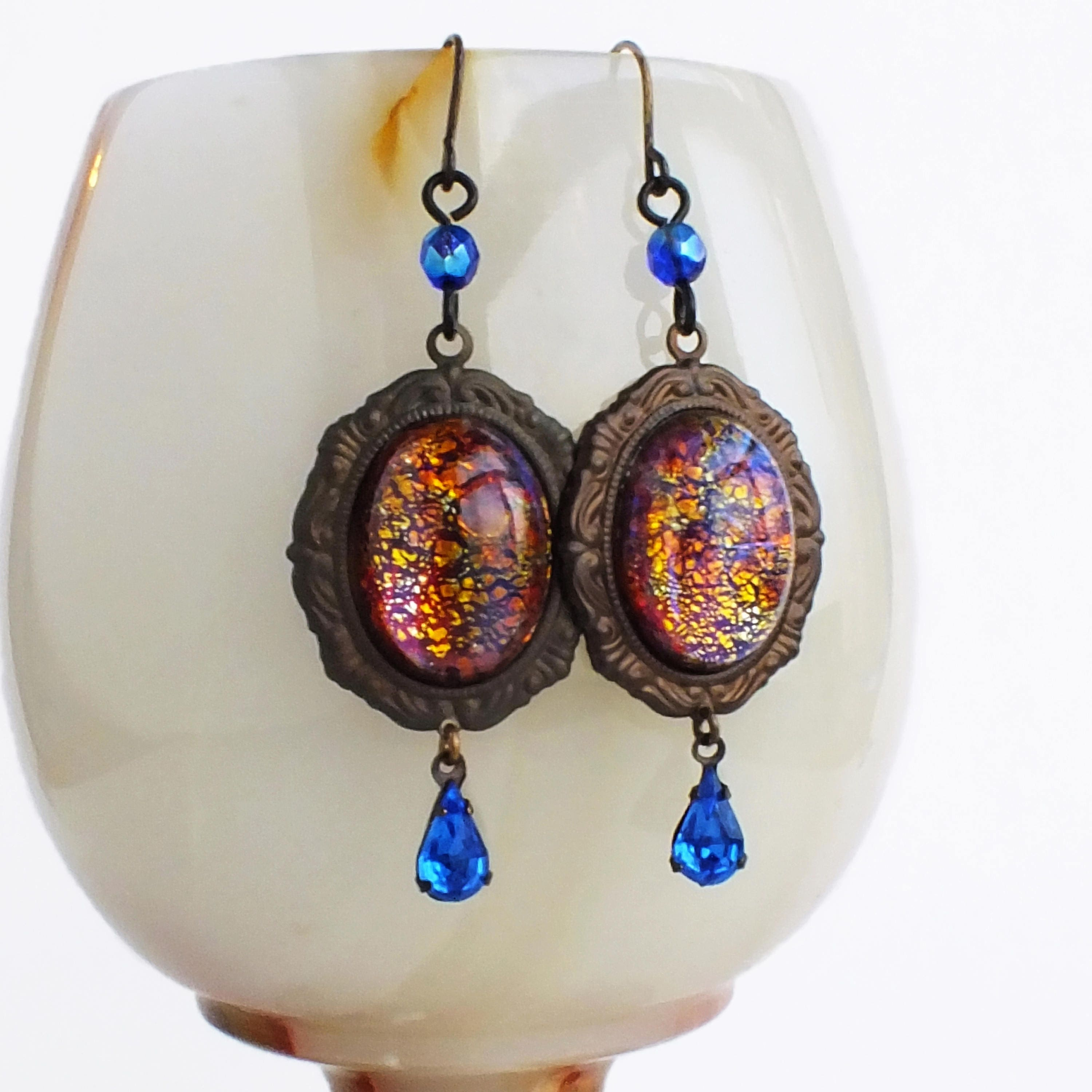 earrings opal objects img products genuine graceful blue