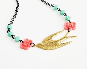Floral Bird Necklace Brass Swallow Necklace Coral Pink Rose Sparrow Jewelry Vintage Victorian Bridal Wedding Jewelry