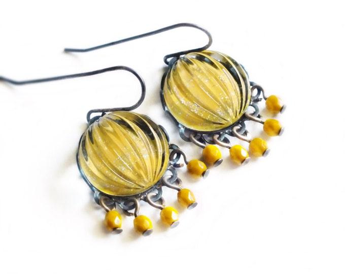 Mustard Yellow Chandelier Earrings Vintage Sparkling Domed Ribbed Yellow Glass Chandelier Earrings