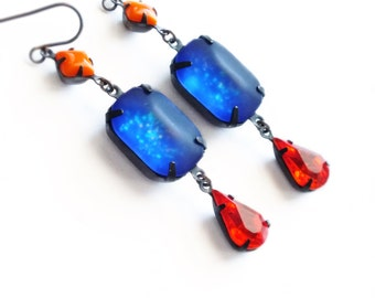 Frosted Glitter Earrings Vintage Matte Glass Rhinestones Royal Blue Red Orange Nail Polish Jewelry Matte Glass