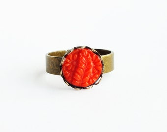 Small Bright Red Ring Vintage Carved Glass Stone Ring Adjustable Antique Brass Ring Red Floral Ring Small Leaf Ring