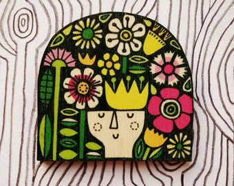 Flora wooden brooch