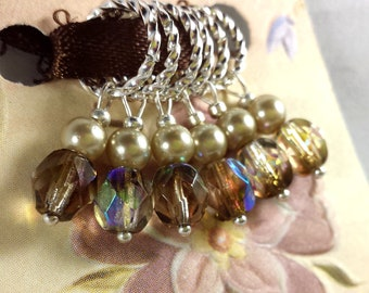 6 KNITTING Stitch Markers - Iridescent Czech Glass Markers - Handmade Knitting Notions - Faux Pearls and Brown Glass Silver Knitting Markers