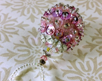Pink and Silver Ornament - Small Sequined and Beaded Decoration - Vintage-Style Retro Ball Ornament - Swarovski Old-Fashioned Decor